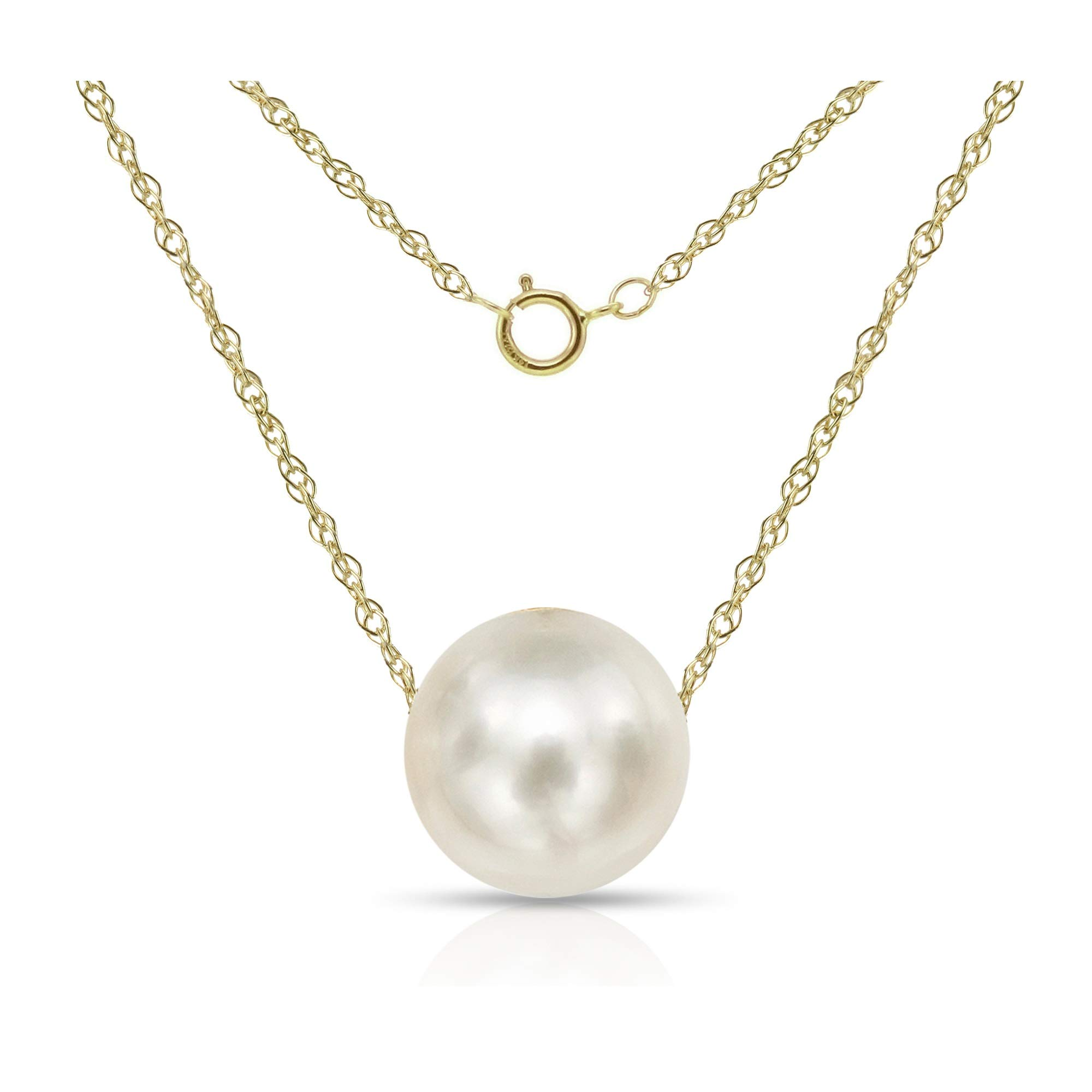 """14K Gold Chain Necklace with Single Floating White Freshwater Cultured Pearl Pendant, 18"""" (Choice of Pearl Sizes and Gold Colors) Valentines Day Gifts"""