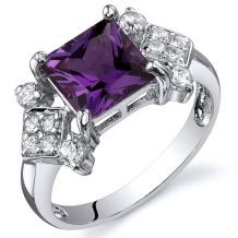 Simulated Alexandrite Princess Ring Sterling Silver Nickel Finish 2.25 Carats Sizes 5 to 9