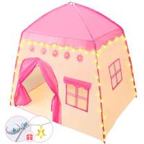 Kids Play Tent for Girls Flower Castle Kids Tent Princess Castle Tent Oxford Fabric Princess Playhouse with Star Lights and with Carry Bag for Children or Toddlers Toys Gift Indoor Outdoor Games