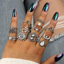 Nicute Vintage Rhinestone Stackable Joint Knuckle Ring Silver Carving Finger Rings Set for Women and Girls(14 Pieces)