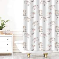 MitoVilla Watercolor Cute Rabbits Shower Curtain Set with Hooks, Hand Drawn Ester Bunnies for Happy Easter Home Decor and Kids Gifts, Waterproof Durable Polyester Fabric, 72 W x 84 L inches, Pink