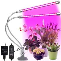 Sanatty LED Grow Lights for Indoor House Plants Light with Timer 2-Head 20W Plant Lights with 40 Red Blue Spectrum LEDs,10 Dimmable Levels 3/9/12H Timer
