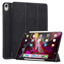 JUQITECH Lightweight Smart Case for iPad 11 Inches 2018 with Pencil Holder, Auto Sleep/Wake Slim Smart Shell Case Rugged Transparent Back Cover Support iPad Pencil Charging for iPad Pro 11, Black