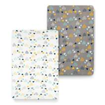 cosmoplus Stretch Fitted Pack n Play Playard Sheets - 2 Pack for Mini Crib Sheet Set,Pack n Play Mattress Cover, Ultra Stretchy Soft,Heart Pattern