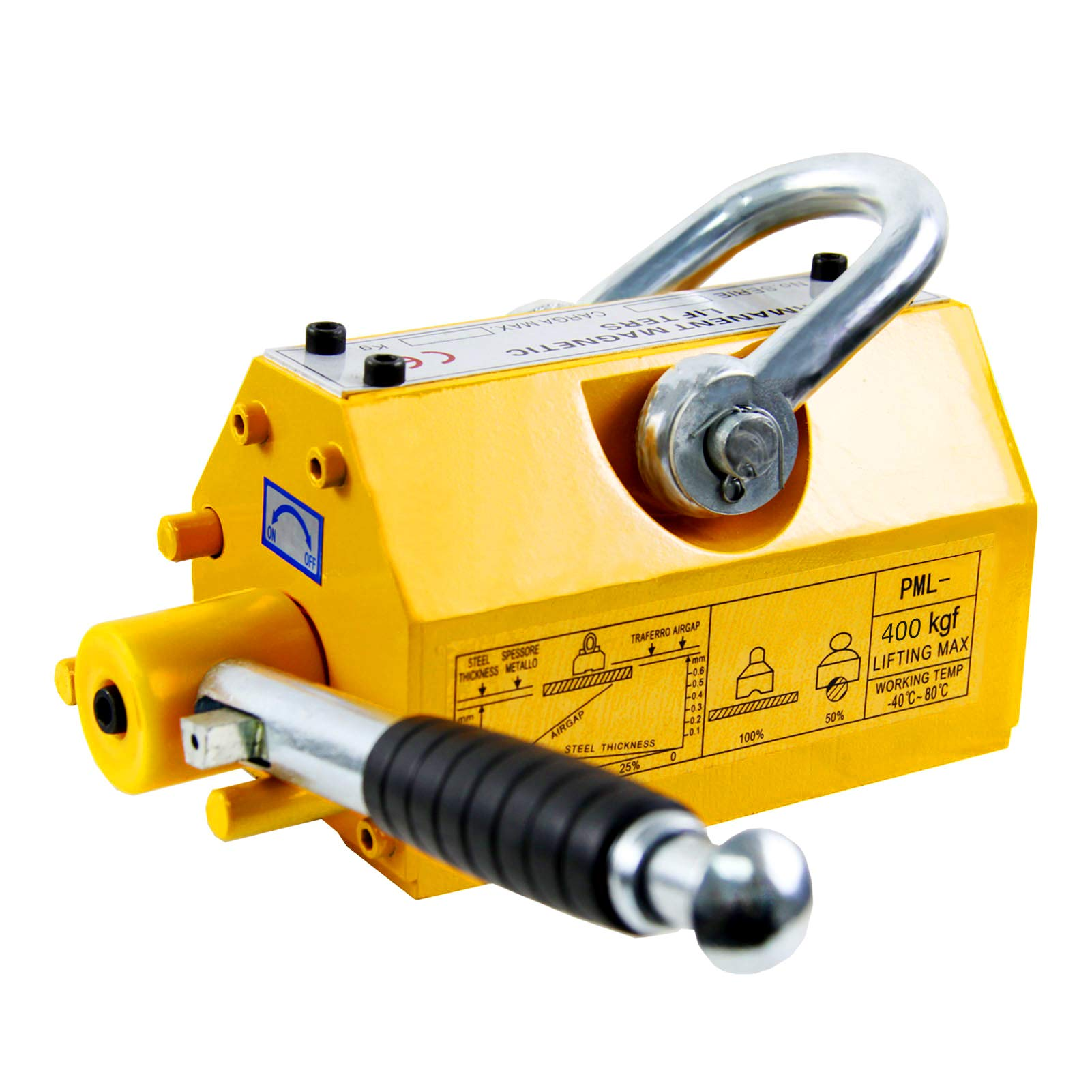 HONYTA Lifting Magnet with Release,880 Lbs Pulling Force - Permanent Lift Magnets,Heavy Duty - Steel Magnetic Lifter,Neodymium - for Shop Crane,Hoist,Block, Board