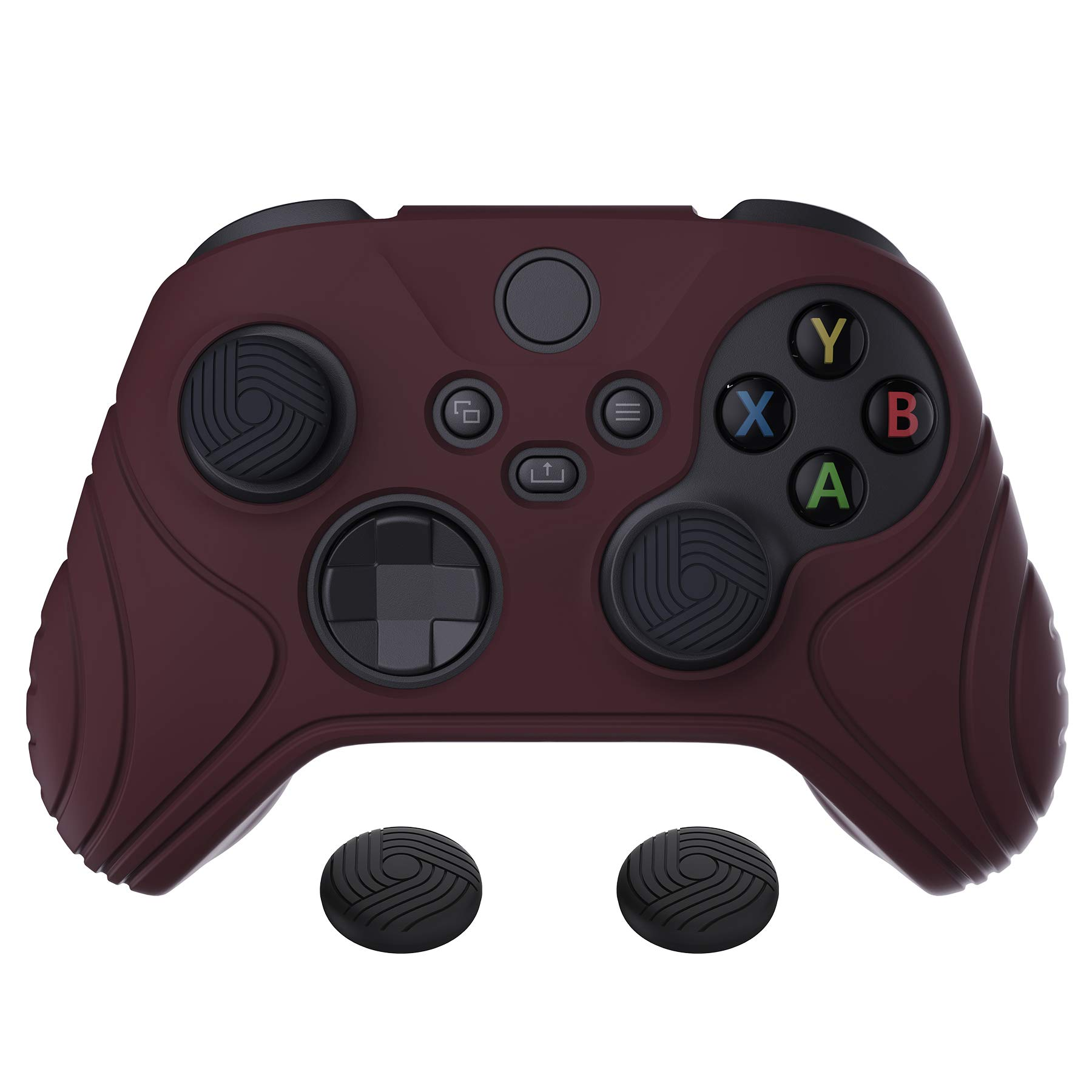 eXtremeRate PlayVital Samurai Edition Wine Red Anti-Slip Controller Grip Silicone Skin, Ergonomic Soft Rubber Protective Case Cover for Xbox Series S/X Controller with Black Thumb Stick Caps