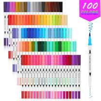 Dual Tip Brush Pens, AGPTEK 100 Colors Dual Tip Brush Marker Pens with 0.4 Fine Tip, Non-Toxic, Odorless & Blendable, Perfect for Illustration, Calligraphy, Sketch Book & Hand Lettering