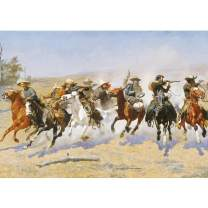 Puzzles For Adults Jigsaw Puzzles 1000 Pieces For Adults Kids– Western Cowboy Horse Scene Oil Painting Style Jigsaw Puzzle Game Toys Gift