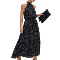 Women's Halter Maxi Dress Floral Polka Dot Midi Dresses Casual Sundress Formal Party Dress