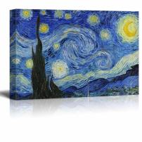 "wall26 Canvas Print Wall Art - Starry Night by Vincent Van Gogh Reproduction on Canvas Stretched Gallery Wrap. Ready to Hang - 24""x36"""
