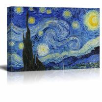 """wall26 Canvas Print Wall Art - Starry Night by Vincent Van Gogh Reproduction on Canvas Stretched Gallery Wrap. Ready to Hang - 24""""x36"""""""