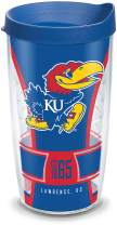 Tervis 1324851 Kansas Jayhawks Spirit Insulated Tumbler with Wrap and Blue Travel Lid, 16 oz, Clear