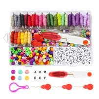 Alphabet Beads for Kandi Bracelets Making,Letter Pony Vowel Beads,28 Multi-Color Embroidery Floss Over 1000pcs ABC Beads Bracelets String Kit for Friendship Bracelets,Jewelry Making