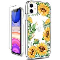 GiiKa iPhone 11 Case, Clear Shockproof Hard PC Case with TPU Bumper Heavy Duty Protective Floral Women Girls Bumper Cover Phone Case for iPhone 11, Yellow Sunflowers
