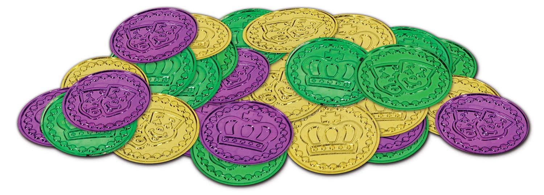 Mardi Gras Plastic Coins (asstd gold, green, purple)    (100/Pkg)