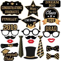 Graduation Photo Booth Props-2019 Real Gold Glitter for Graduation Party Favors Supplies Decorations (21pcs)