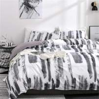 ADASMILE A & S Graffiti Duvet Cover Art Abstract Black and White Ink Pattern 3 Piece Bedding Set, 1 Duvet Cover with 2 Pillow Shams, No Comforter,King