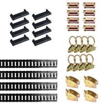 DC Cargo Mall E Track Tie-Down Kit - 32 Pieces: 5 ft Black E Track Rails & E Track Accessories