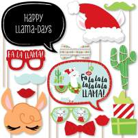 Big Dot of Happiness Fa La Llama - Christmas and Holiday Party Photo Booth Props Kit - 20 Count