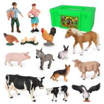 Volnau Barn Animal Figurines 14PCS Barnyard Animal Figure Farm Toys for Toddlers Kids Preschool Educational Cow Sheep Cock Hen Dog Pig Sets, BPA Free