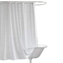 Seavish Fabric Shower Curtain,Resistant Water-Repellent Fabric Bathroom Shower Curtains with 12 Plastic Hooks Set (72''W x 72''L, White Chevron)