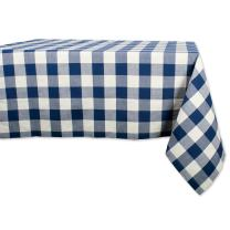 DII Classic Gingham Check Tabletop Collection 100% Cotton Machine Washable, for Spring, Summer, Everyday Use, Entertaining and Family Gatherings, Tablecloth, 60x120, Navy & Cream