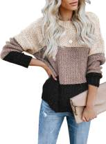 Tiksawon Womens Color Block Striped Oversized Crew Neck Sweaters Pullover Fashion Long Sleeve Loose Knitted Jumper Tops