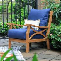 Cambridge-Casual Solid Teak Wood Chester, Lounge Chair, with Navy Cushion