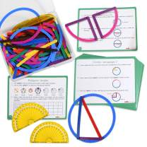 Edx Education GeoStix Deluxe Set - Learn Geometry with 100 Flexible Construction Sticks - Includes 2 Protractors and 16 Activity Cards - Manipulative for Math, Art and Fine Motor Skills
