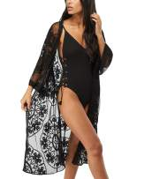 Alcea Rosea Womens Embroidered Lace Kimono Gown Vintage Floral Mesh Robe Loose Beach Cover Up Long Dress Nightgown