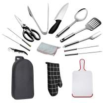 POTAXLSL Outdoor Camping Utensils Kitchen Cookware Travel Set Portable Stainless Steel Waterproof 15-Piece Storage Set for Picnic, BBQ, Camping, Hiking, Travel