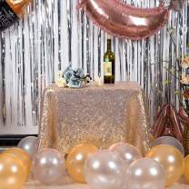 """JYFLZQ Champagne Sequin Tablecloth 50"""" x 50"""" Square Sparkly Drape Table Cloths Table Cover Overlay for Wedding Birthday Party Baby Bridal Shower"""