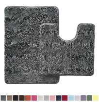 Gorilla Grip Original Shaggy Chenille 2 Piece Area Rug Set Includes Oval U-Shape Contoured Mat for Toilet and 30x20 Bathroom Rugs, Machine Wash Dry, Plush Mats for Tub, Shower and Bath Room, Gray