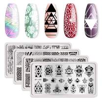 BORN PRETTY Nail Art Stamping Plates Kit- 4 Manicuring Plates DIY Leaves Geometry and Illusions Stamp Templates Set by Salon Designs
