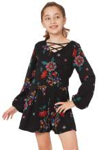 Truly Me, Girls' Long Sleeve Woven Romper in Floral Print, Size 7-16