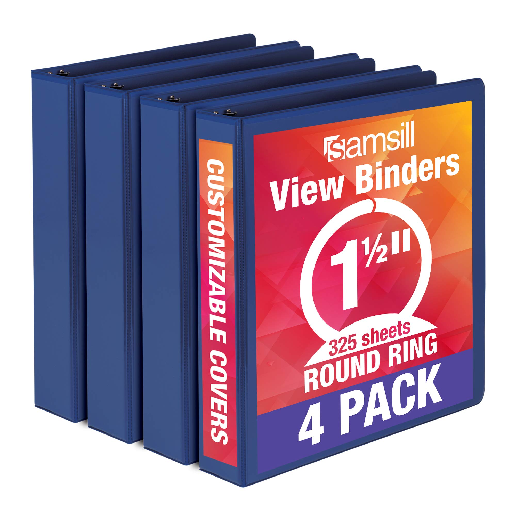 Samsill Economy 3 Ring Binder Organizer, 1.5 Inch Round Ring Binder, Customizable Clear View Cover, Blue Bulk Binder 4 Pack