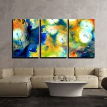 """wall26 - 3 Piece Canvas Wall Art - Seamless Pattern with Watercolor Hand Drawn Dandelions - Modern Home Decor Stretched and Framed Ready to Hang - 16""""x24""""x3 Panels"""