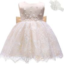 Moon Kitty Baby Girl Newborn 3D Flower Party Floral Dresses Pagent Lace Dress Gown for Baby Girls