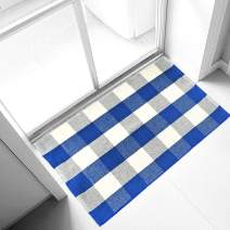 Ukeler Buffalo Plaid Rugs 2'×3'- Machine Washable Blue Plaid Outdoor Doormat, Farmhouse Rug for Front Porch/Kitchen/Sink/Bathroom