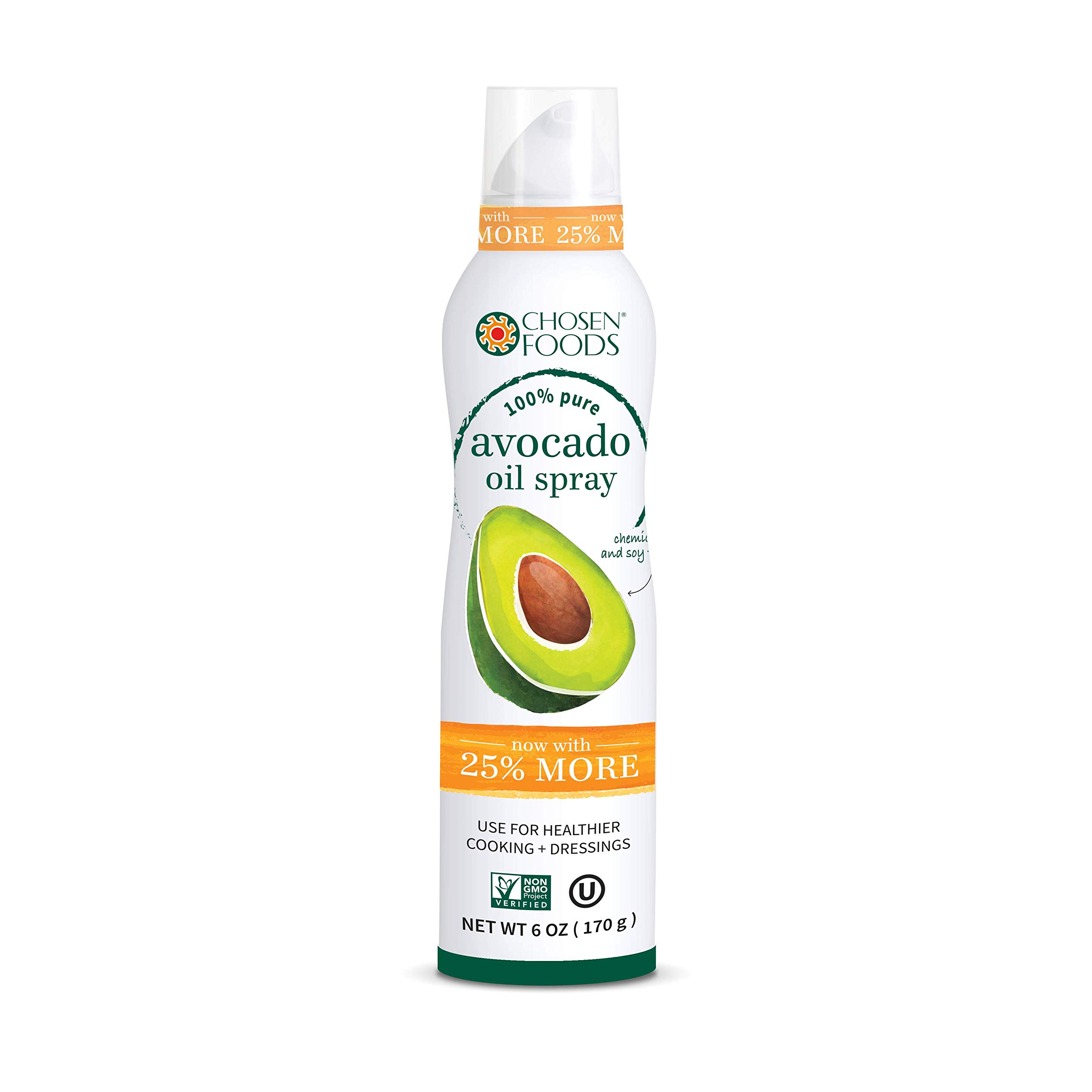 Chosen Foods 100% Pure Avocado Oil Spray 4.7 oz. (10 Pack), Non-GMO, 500° F Smoke Point, Propellant-Free, Air Pressure Only for High-Heat Cooking, Baking and Frying