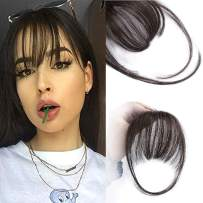 AISI QUEENS Clip in Bangs Human Hair Extensions One Piece in Fringe Natural Flat Air Bangs with Temple for Women(Color:Natural Color)