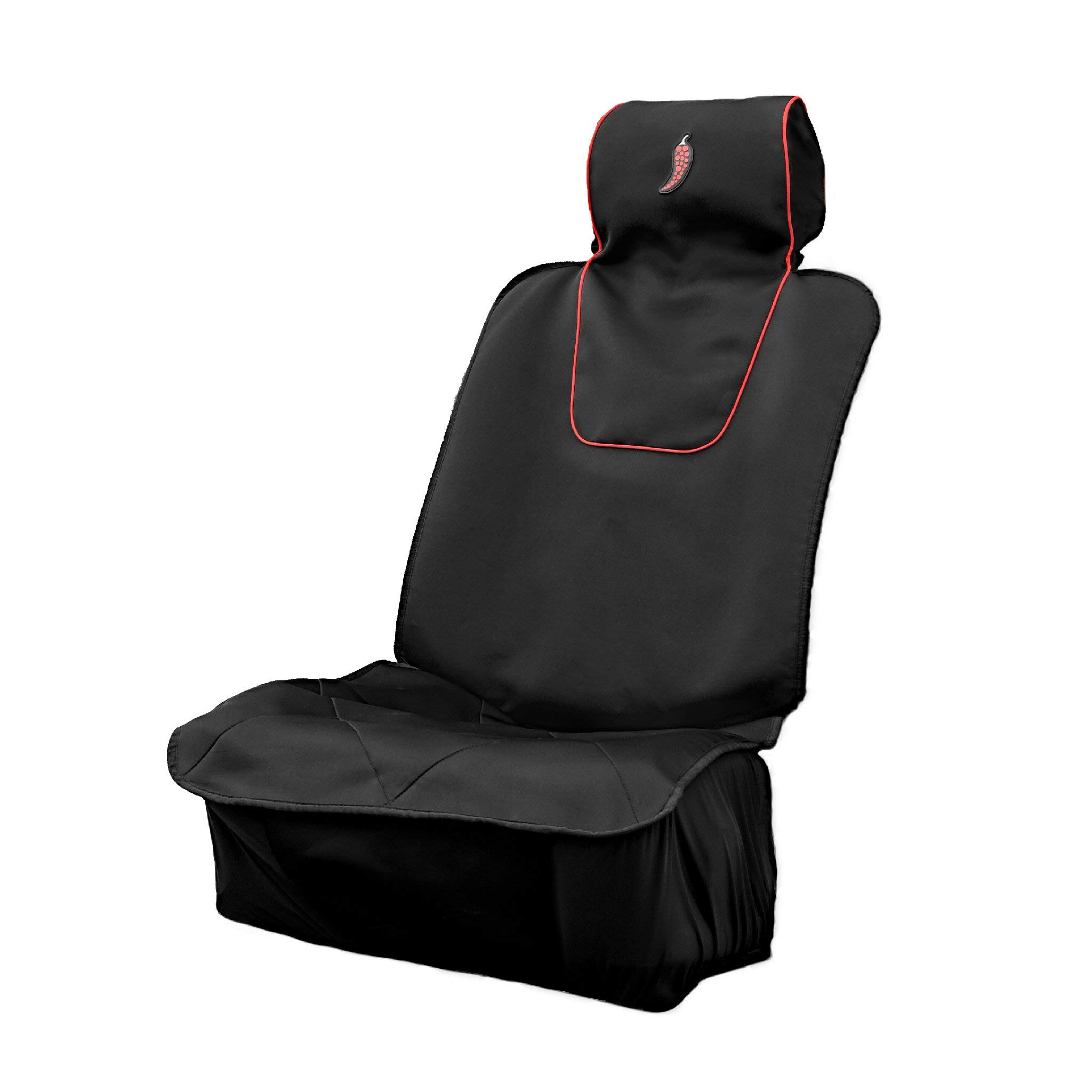 Dry Rub Medium Sweat Proof Car Seat Cover - Perfect for Running, Crossfit, After Gym and Outdoor Activities - Universal Fit - Machine Washable - Drawstring Bag Included (Red Chili)