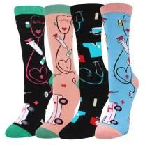 Happypop Women Nurse Med Socks, Novelty Funny Crazy Teeth Dentist Socks