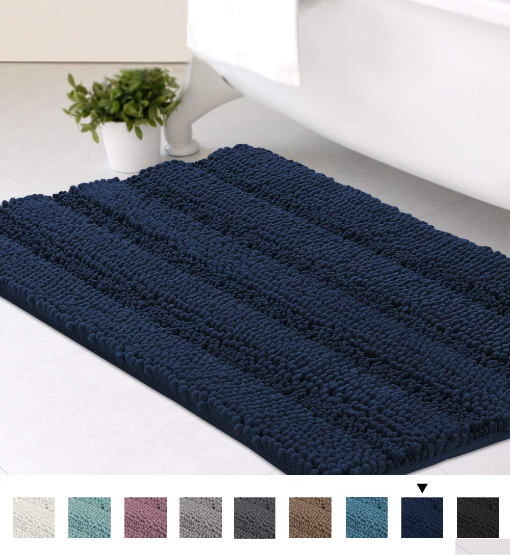 Striped Luxury Chenille Bathroom Rug Mat 20x32 Inch Extra Soft and Absorbent Shaggy Rugs Dry Quickly Plush Rug Carpet for Tub/Toilet/Shower Machine Washable, Navy