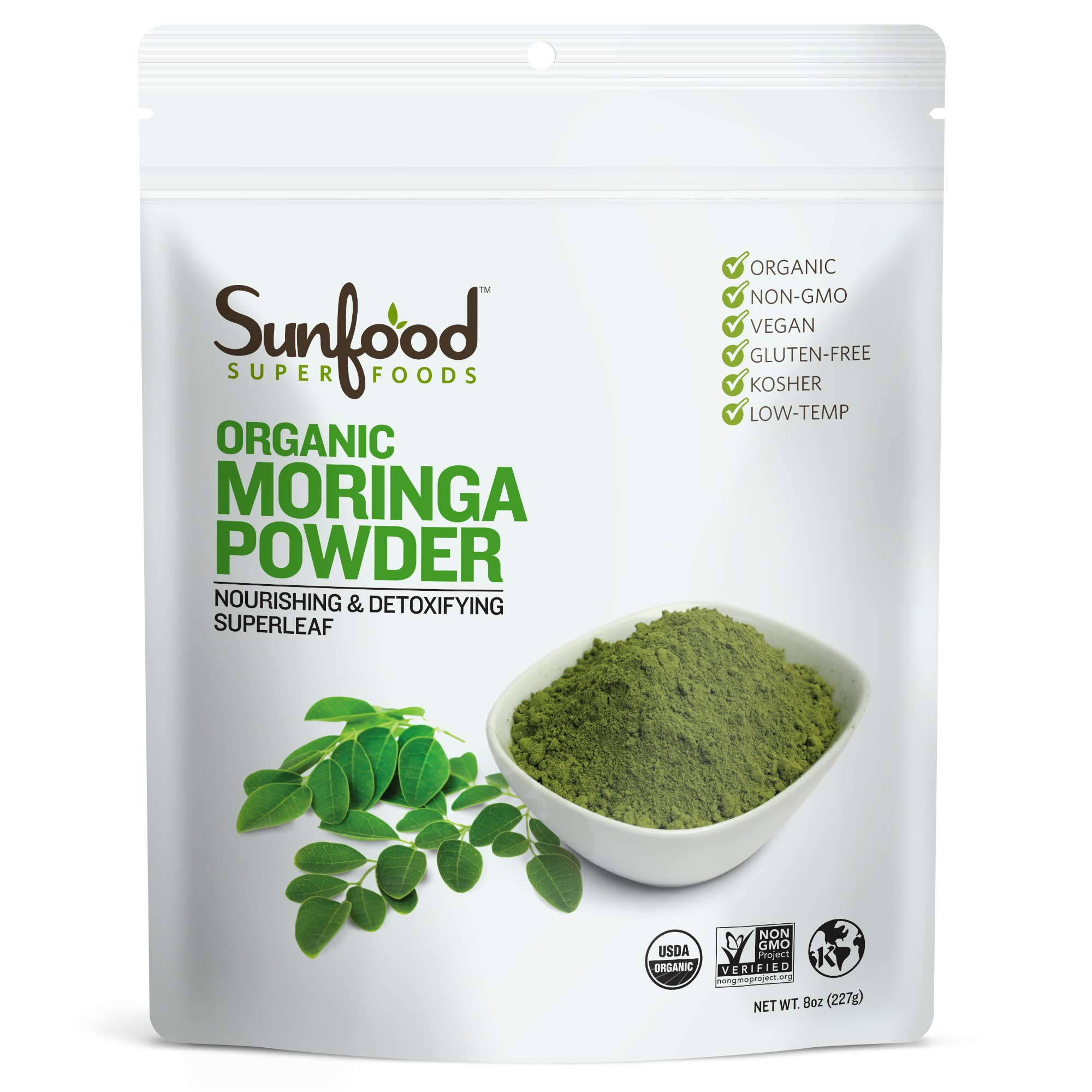 Sunfood Superfoods Moringa Powder. Whole Food Nutrient Dense Super-Leaf. Organic, Non-GMO, Gluten-Free. 8 oz Bag