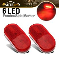 Partsam 2Pcs Red 4 Inch Oblong Led Clearance and Side Marker lights Lamps with Reflex Lens White Base RV Camper Surface Mount, Sealed 2x4 Reflective Rectangular Rectangle Led Marker Lights Lights 12V
