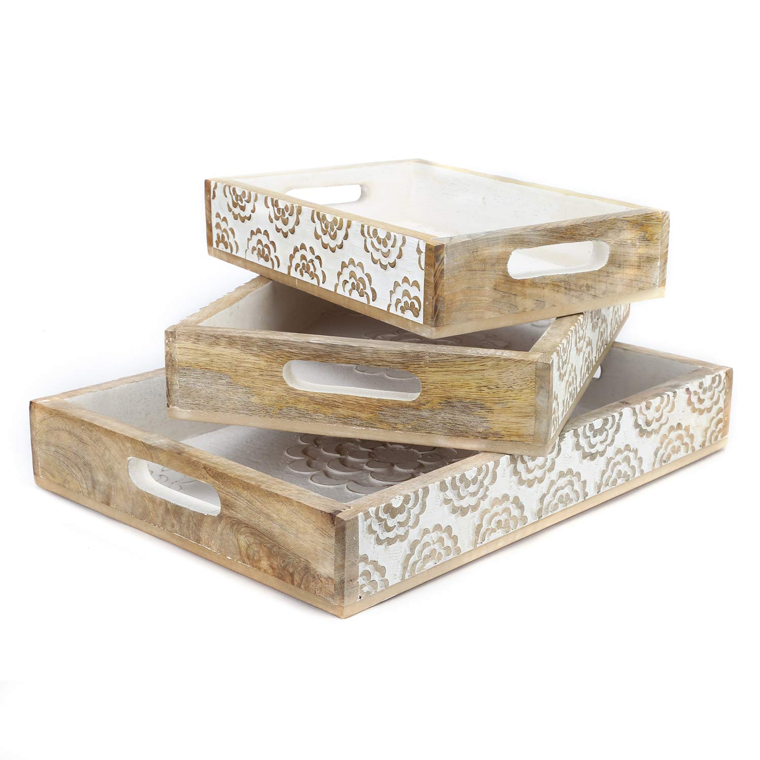 SAVON Rustic Wood Tray set of 3 torched nesting hand carved set white flowers wooden