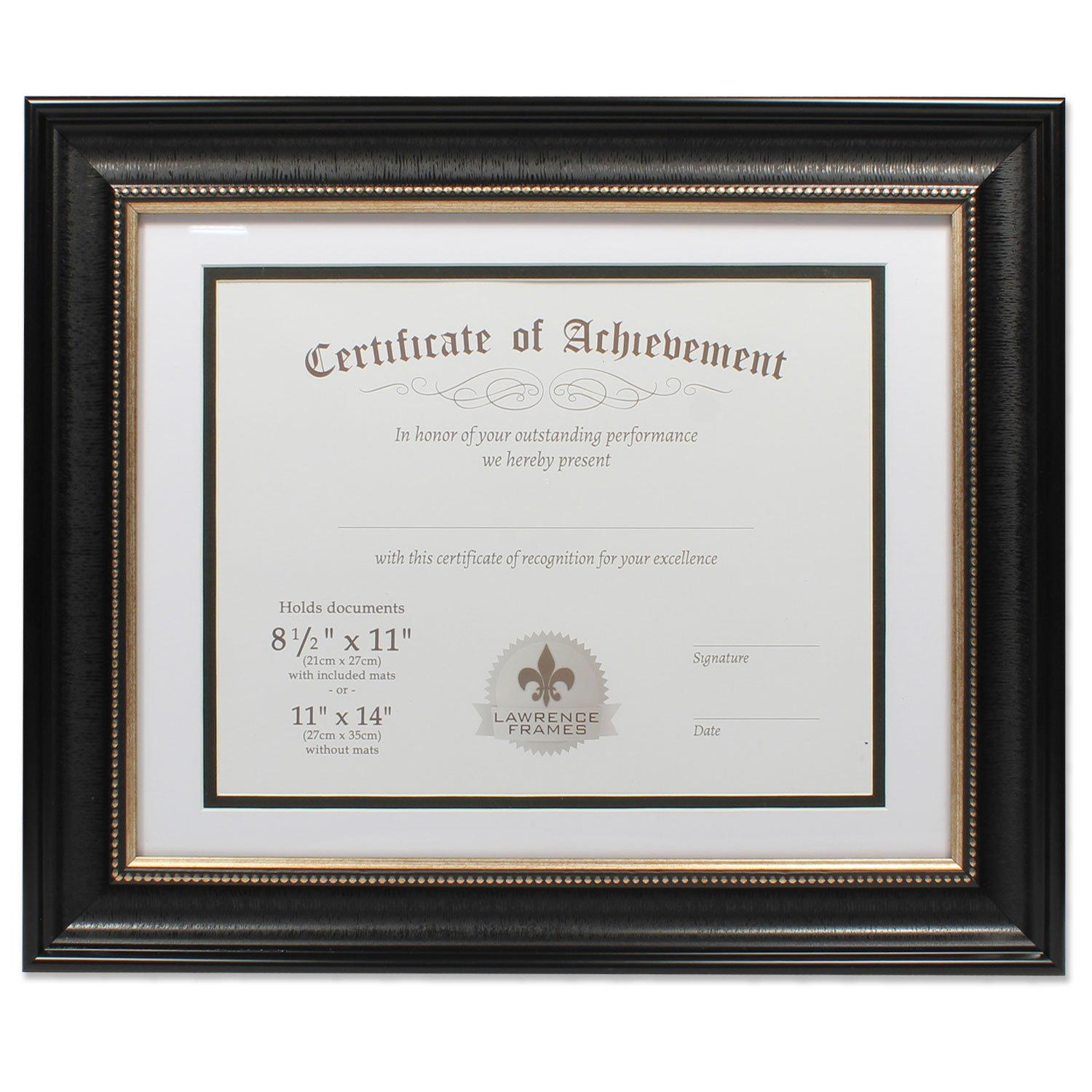 11x14 Dual Use Black Beaded Document Frame