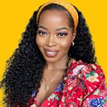 Persephone 160% Density Headband Wigs for Black Women Loose Curly Human Hair Wig with Headband Attached Wigs Heat Resistant Virgin Hair 16 inch NC