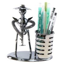 Music Musician Theme Iron Hat Man Art Steel Metal Creative Personality Pen Holder Pencil Holder Cup Pot Office Students Desktop Music Decoration Decor Toy Gift Ornaments(A20024 Key Press Trombone)